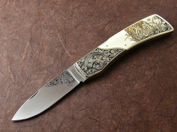 Custom Folding-Bolster, Lock Back, ATS-34 Steel, Antique Ivory Knife made by Jim Martin