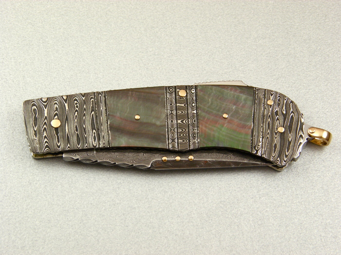 Custom Folding-Bolster, Lock Back, Damascus Steel by Maker, Black Lip Pearl Knife made by Kaj Embretsen