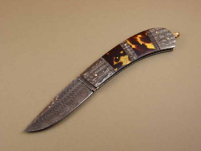 Custom Folding-Bolster, Lock Back, Damascus Steel by Maker, Exotic Scales Knife made by Kaj Embretsen
