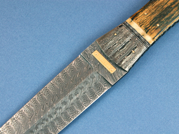 Custom Fixed Blade, N/A, Damascus Steel by Maker, Fossilized Mammoth Knife made by Kaj Embretsen