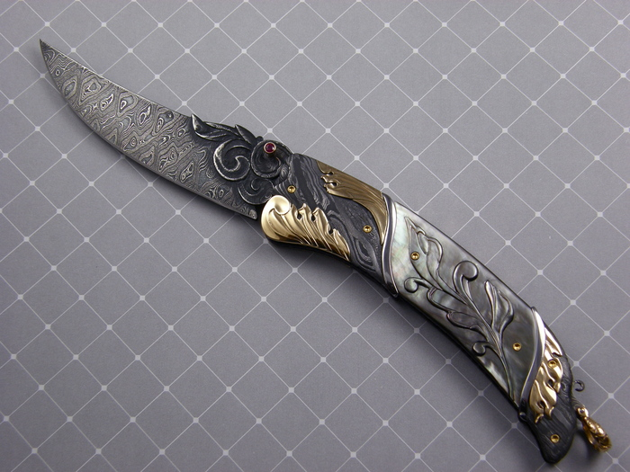 Custom Folding-Bolster, Liner Lock, Damascus Steel, Carved Black Lip Pearl Knife made by Don Vogt