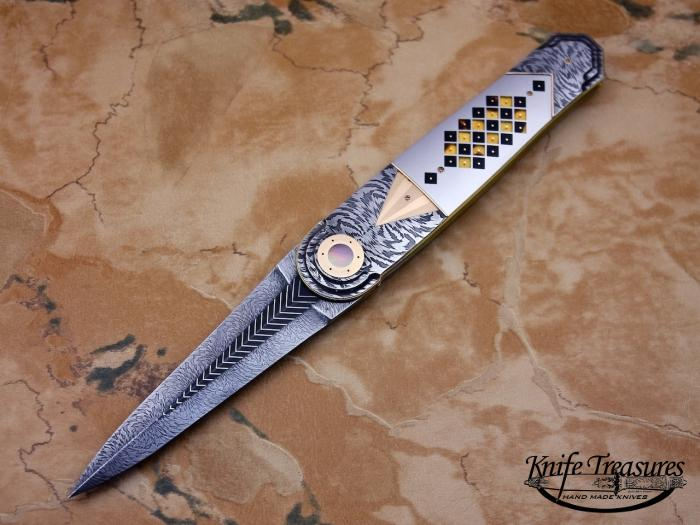 Custom Folding-Inter-Frame, Liner Lock, Owen Wood Chevron Damascus, Gold, BLP, Exotic Material Knife made by Owen  Wood