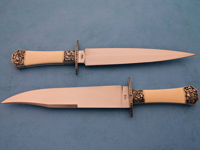 Custom Fixed Blade, N/A, ATS-34 Stainless Steel, Antique Ivory Knife made by Jess Horn