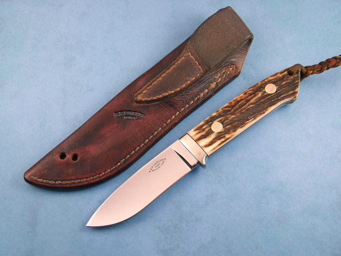 Custom Fixed Blade, N/A, ATS-34 Stainless Steel, Natural Stag Knife made by Bob  Loveless