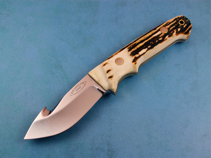 Custom Fixed Blade, N/A, ATS-34 Stainless Steel, Natural Stag With Brass Wrapped Around Spine Knife made by Bob  Loveless