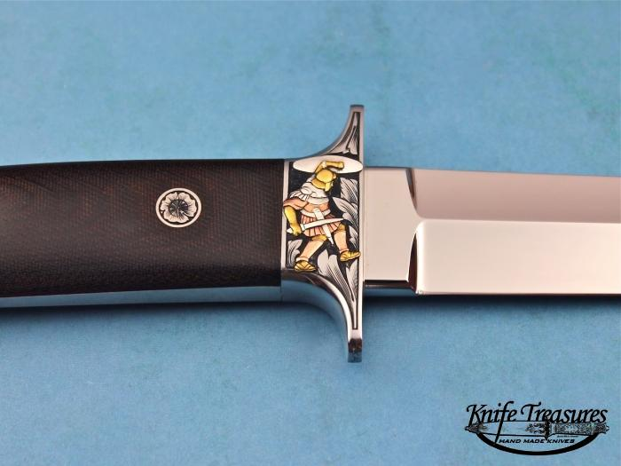 Custom Fixed Blade, N/A, 154 CM, Green Linen Micarta Knife made by Bob  Loveless
