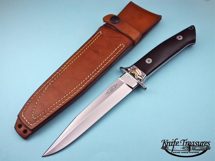 Custom Fixed Blade, N/A, ATS-34 Stainless Steel, Green Linen Micarta Knife made by Bob  Loveless