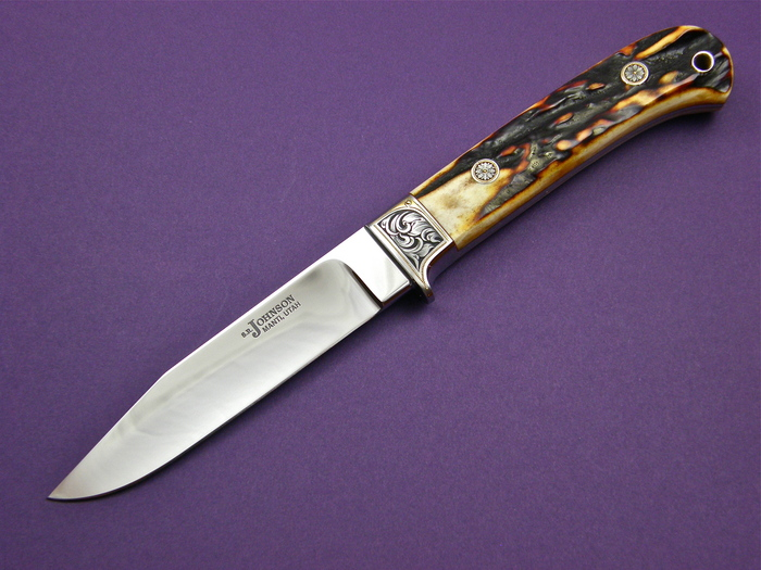 Custom Fixed Blade, N/A, ATS-34 Steel, Amber Stag Knife made by Steve SR Johnson