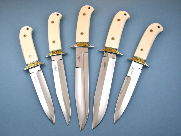 Custom Fixed Blade, N/A, ATS-34 Steel, Antique Ivory Knife made by Steve SR Johnson