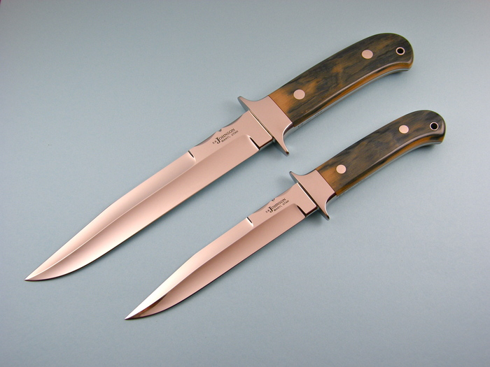 Custom Fixed Blade, N/A, ATS-34 Steel, Blue Mammoth Ivory Knife made by Steve SR Johnson