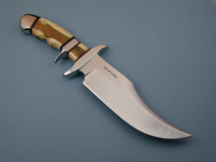 Custom Fixed Blade, N/A, ATS-34 Steel, Polished Amber Stag Knife made by Steve SR Johnson