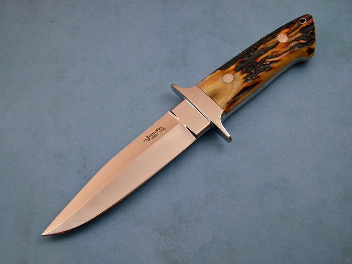 Custom Fixed Blade, N/A, CPM-154, Amber Stag Knife made by Steve SR Johnson