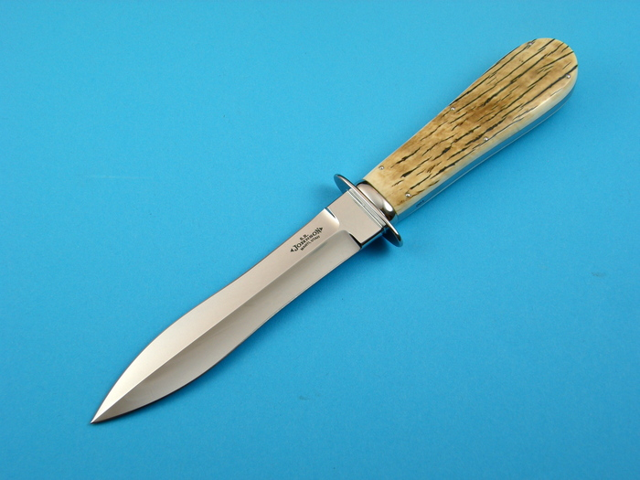 Custom Fixed Blade, N/A, ATS-34 Steel, Surface Antique Ivory Knife made by Steve SR Johnson