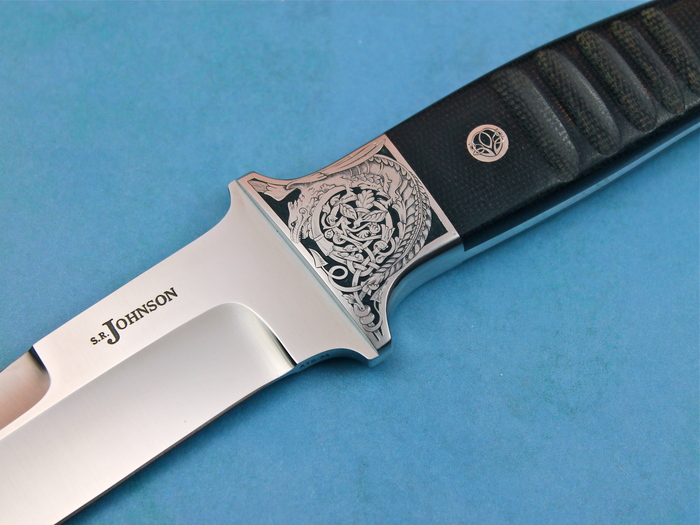 Custom Fixed Blade, N/A, ATS-34 Stainless Steel, Notched Black Micarta Knife made by Steve SR Johnson