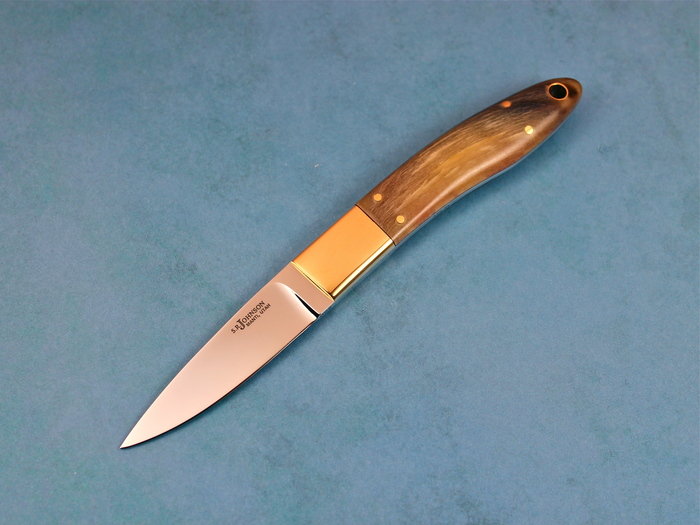 Custom Fixed Blade, N/A, ATS-34 Steel, Rams Horn Knife made by Steve SR Johnson