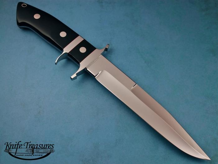 Custom Fixed Blade, N/A, ATS-34 Stainless Steel, Black Buffalo Horn Knife made by Steve SR Johnson