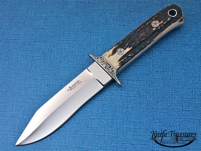 Custom Fixed Blade, N/A, ATS-34 Stainless Steel, Natural Stag Knife made by Steve SR Johnson