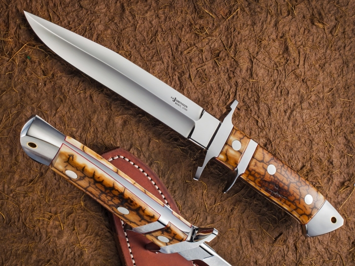 Custom Fixed Blade, N/A, PM-154, Fossilized Mammoth Knife made by Steve SR Johnson