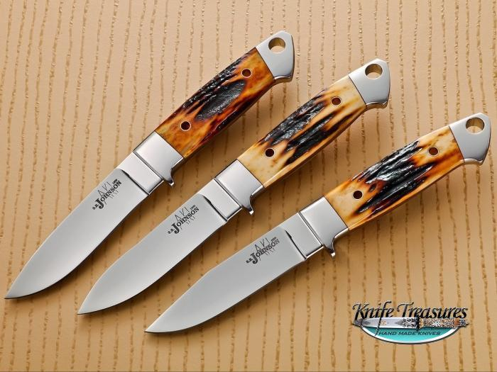 Custom Fixed Blade, N/A, ATS-34 Stainless Steel, Red Amber Stag Knife made by Steve SR Johnson