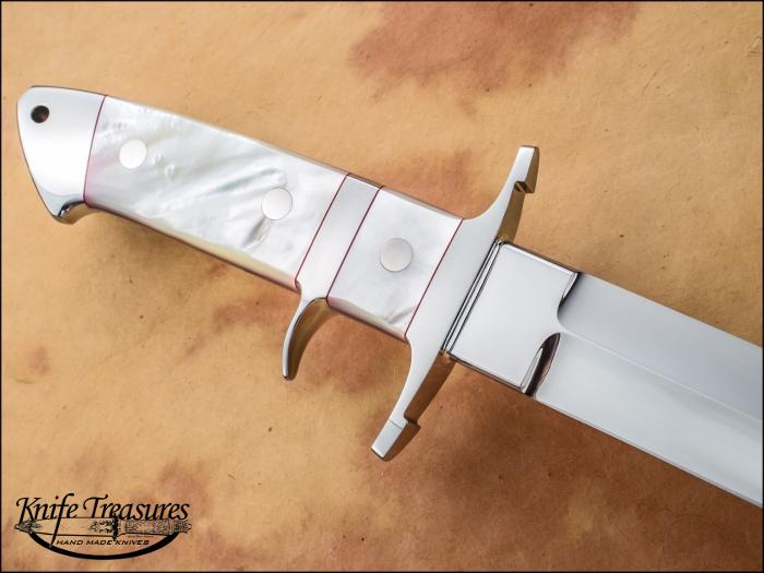 Custom Fixed Blade, N/A, CTS XHP, Mother Of Pearl Knife made by Steve SR Johnson