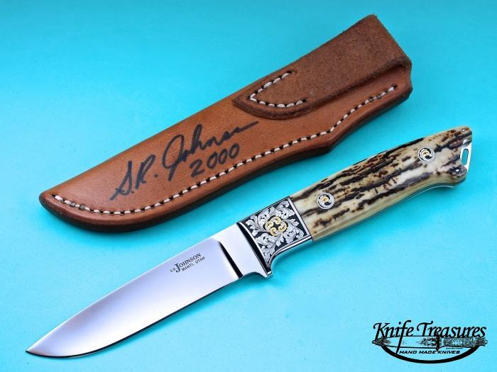Custom Fixed Blade, N/A, ATS-34 Stainless Steel, Fossilized Mammoth Ivory Knife made by Steve SR Johnson