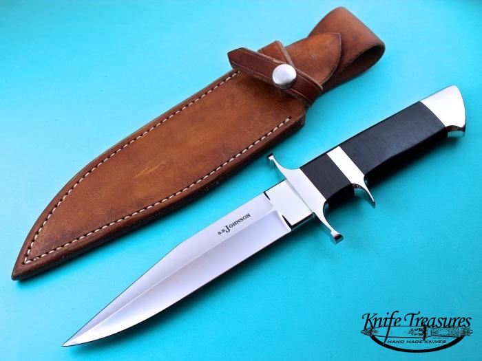 Custom Fixed Blade, N/A, ATS-34 Stainless Steel, Wrapped Leather Knife made by Steve SR Johnson