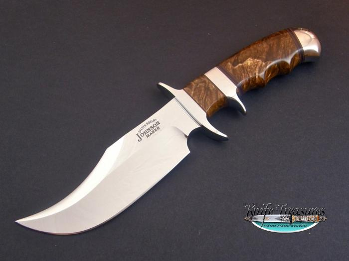 Custom Fixed Blade, N/A, ATS-34 Steel, Wood Burl Knife made by Steve SR Johnson