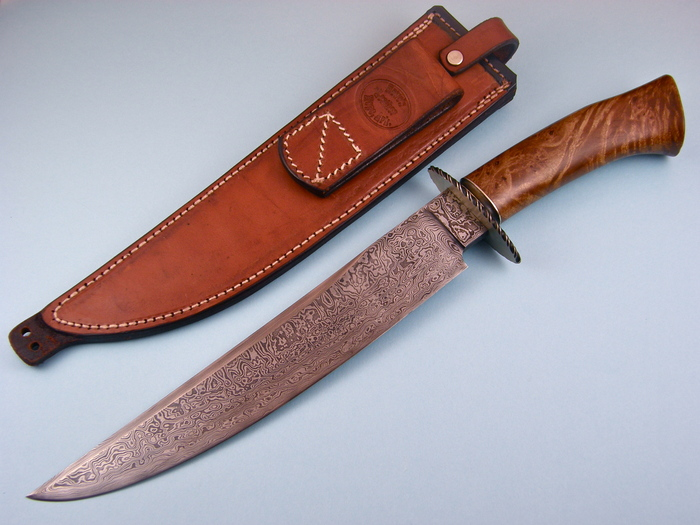 Custom Fixed Blade, N/A, Damascus Steel by Maker, Burl Wood Knife made by Jerry  Fisk