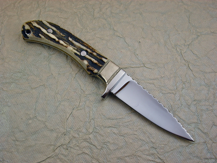 Custom Fixed Blade, N/A, 440-C Stainless Steel, Natural Stag Knife made by Gill Hibben