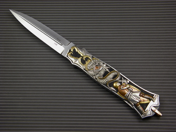 Custom Folding-Inter-Frame, Lock Back, ATS-34 Steel, 416 Stainless Steel Knife made by Warren Osborne