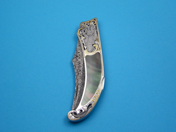 Custom Folding-Inter-Frame, Lock Back, Damascus Steel, Black Lip Pearl Knife made by Warren Osborne