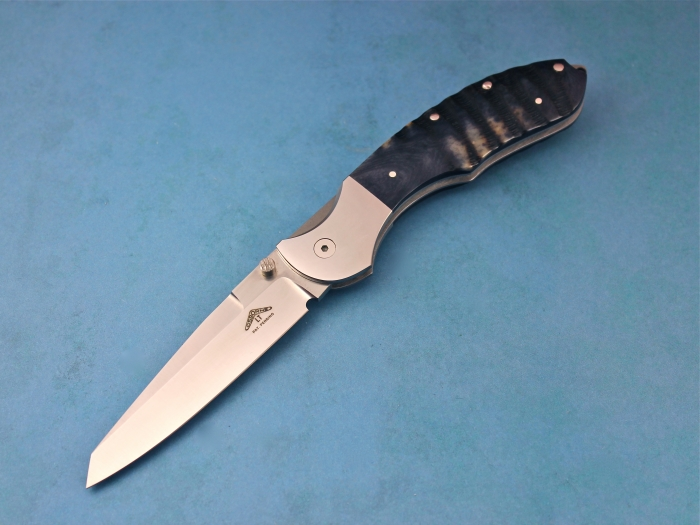 Custom Folding-Bolster, Top Liner Lock, ATS-34 Stainless Steel, Kudu Horn Knife made by Warren Osborne