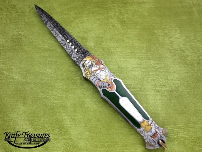 Custom Folding-Inter-Frame, Lock Back, Spider Pattern Damascus, Tuxedo Green Jade, MOP & Gold Knife made by Warren Osborne