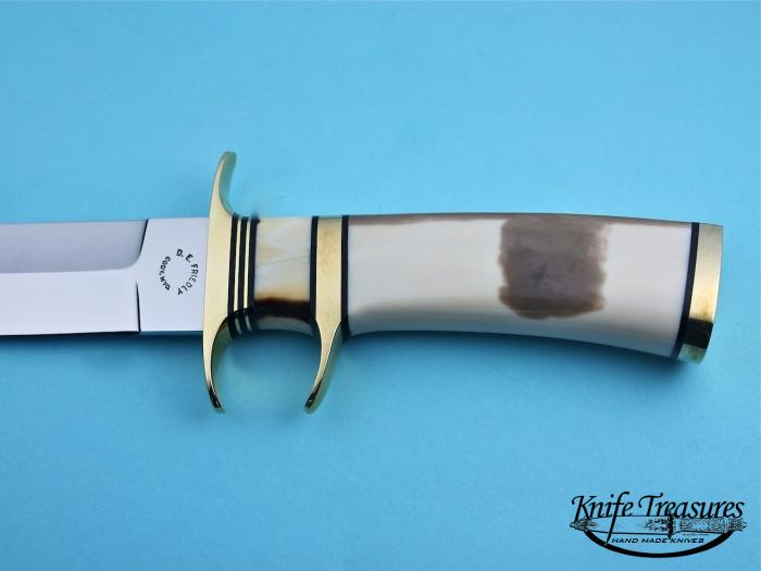 Custom Fixed Blade, N/A, 440-C Stainless Steel, Fossilized Walrus  Knife made by Dennis Friedly