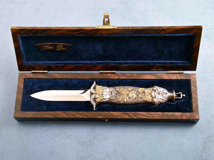 Custom Folding-Bolster, Bale Pull, RWL-34 Steel, Gold, Silver and Bronze Knife made by Alex Gev