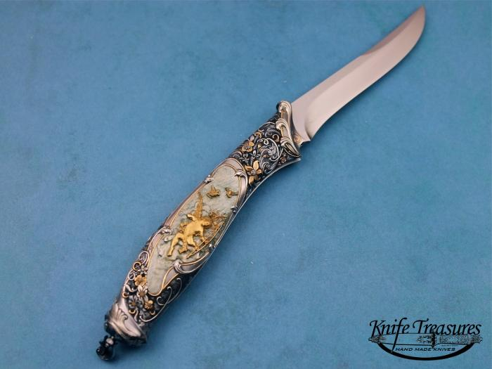 Custom Folding-Inter-Frame, Bale Pull, RWL-34 Steel, Gold, Silver and Bronze Knife made by Alex Gev