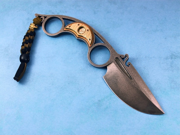 Custom Fixed Blade, N/A, Darkwater Steel, Titanium-Mokume Knife made by Oleksander Bogdanovich